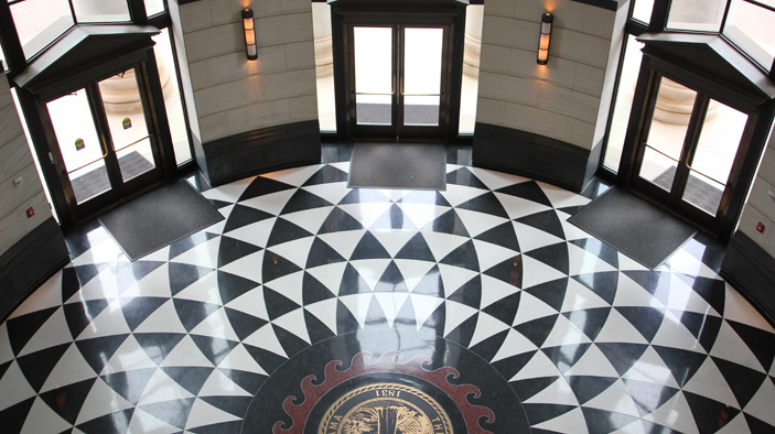 the lobby of Shelby Hall