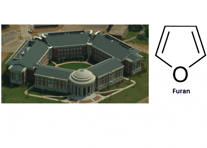 pentagon diagram outlining the shape of Shelby Hall